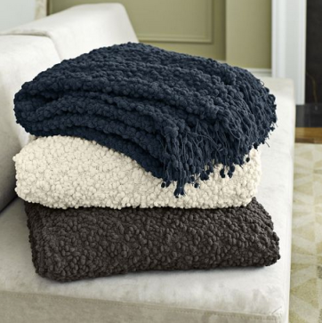 The West Elm throw - so chic! And warm!