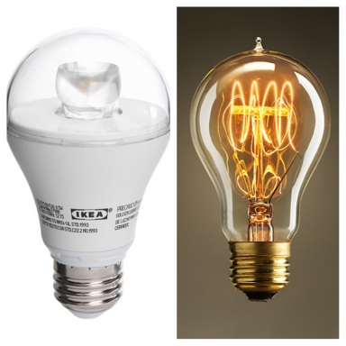 Two bulbs I love: energy-saving LED bulb from IKEA on left; stylishly vintage Edison bulb from Restoration Hardware on right