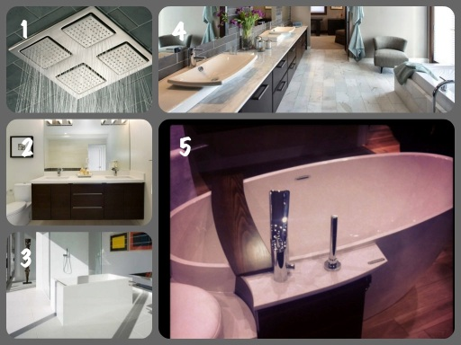 1. Rain Showerhead  2. (Plenty of) dark cabinetry  3. Lots of natural light  4. Heated floors   5. Freestanding tub