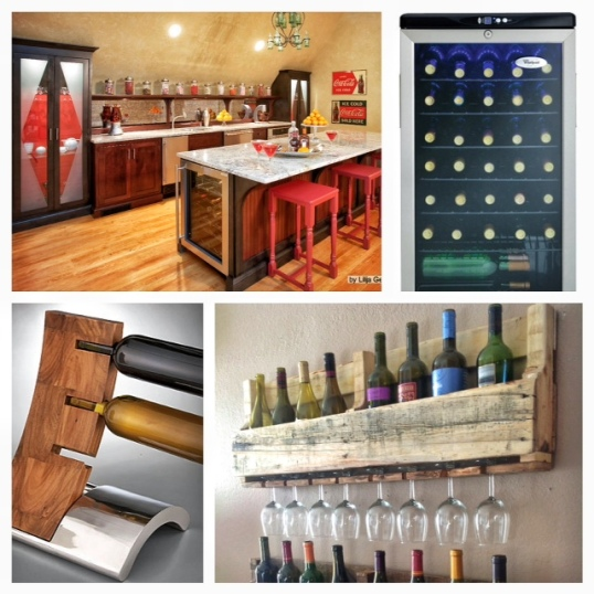Top L - A great option from Houzz that allows you to highlight your collection without taking up spaceBottom L - A gravity-defying idea for letting your wines shine in plain sightTop R - A Whirlpool wine fridge from Future Shop...stores up to 35 bottles!Bottom R - For that rustic chic look, this reclaimed wood wine rack from DelHutsonDesigns adds a quirky way to not just store wine, but their wine glasses, too!