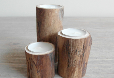 Gorgeous wooden candle holders, via Even and Odd.