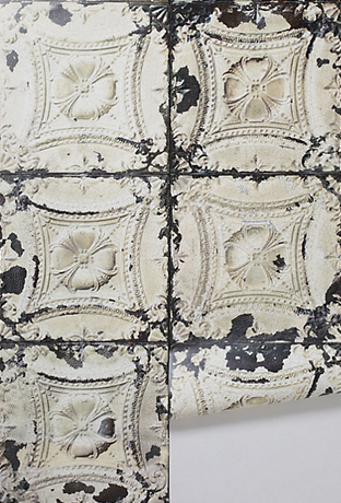 The look of texture this wallpaper brings is fantastic. Imagine this as a backsplash in a kitchen! Via Anthropologie.