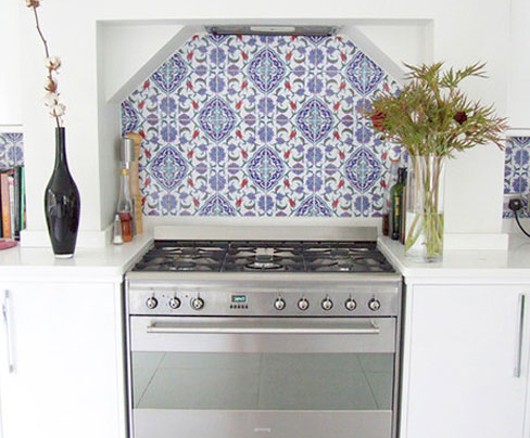Mediterranean Accent: bold and beautiful, this style works great in a large accent space. Perfect for a bare bones, white kitchen. via Design Sponge.