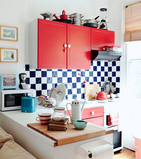 Checkered: I LOVE this style. The blue and white is a nice colour combo, but you can get creative with the choice of tile colour. This is a very bold pattern that adds a vintage feel to kitchens. via Design Sponge.