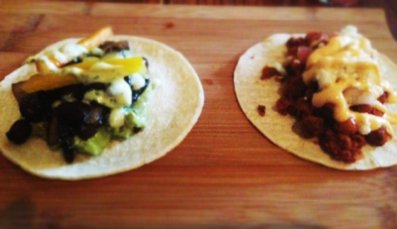 Portobello Taco (left) and Sweet Potato Taco (right)